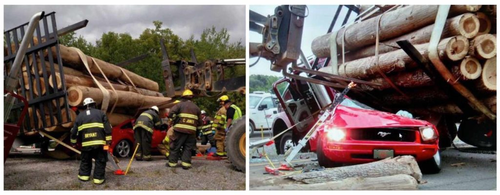 Res-Q-Jack Struts Assist in Rescuing Trapped Driver - Collage